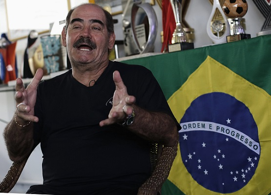 Brazilian former soccer world champion Rivelino speaks during an interview with Reuters at the Rivellino Sport Center in Sao Paulo