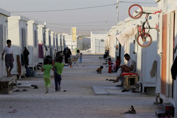 A general view shows Syrian refugees at the Mrajeeb Al Fhood refugee camp, during Ramadan
