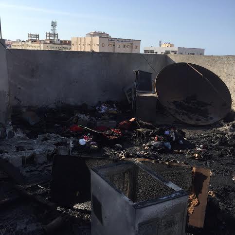 بالصور.. إخماد حريق مخلفات على بناية بروضة #جازان7