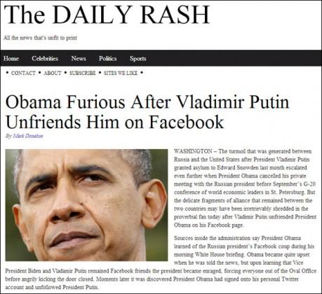 """""""بوتين"""" يحذف """"أوباما"""" من قائمة أصدقاء على """"الفيس بوك"""""""
