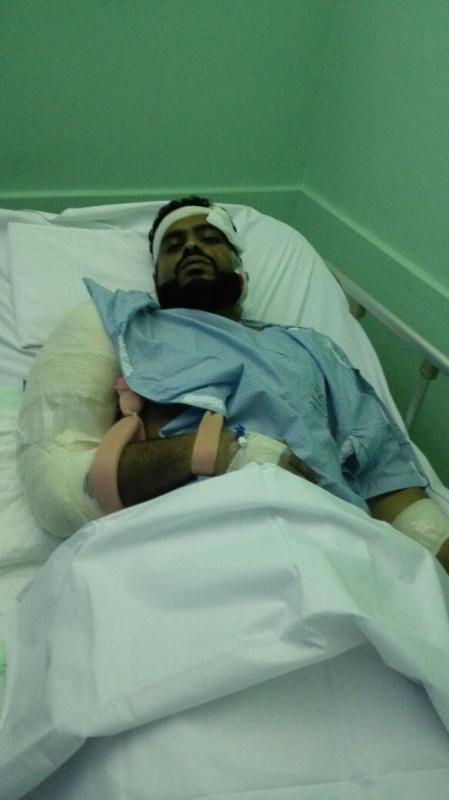 احد مصابي مقذوفات الحوثي جازان