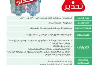 الغذاء والدواء تحذر من استهلاك مياه روكان ومياه الدار - المواطن