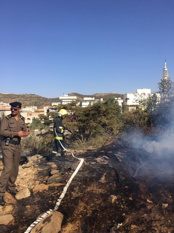 حريق في مدرجات زراعية في بني حدة بمنطقة الباحة