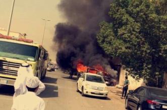 بالصور.. حرق مركبتين إحداهما لقائد مدرسة في جدة - المواطن