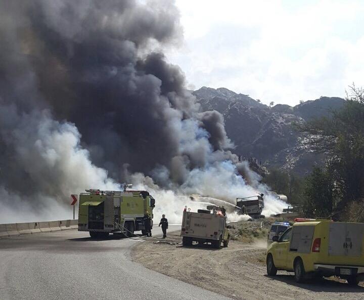 حريق طريق محايل عسير