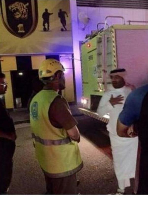 حريق في مصلى نادي الاتحاد بجدة
