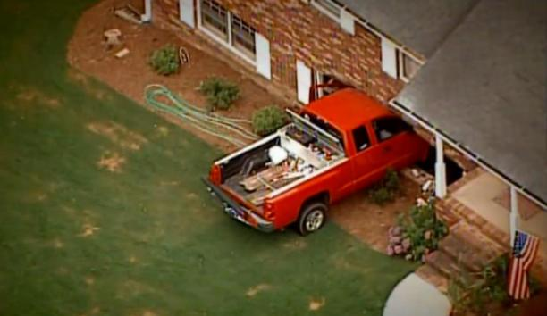 Toddler-drives-truck-crashes-into-house