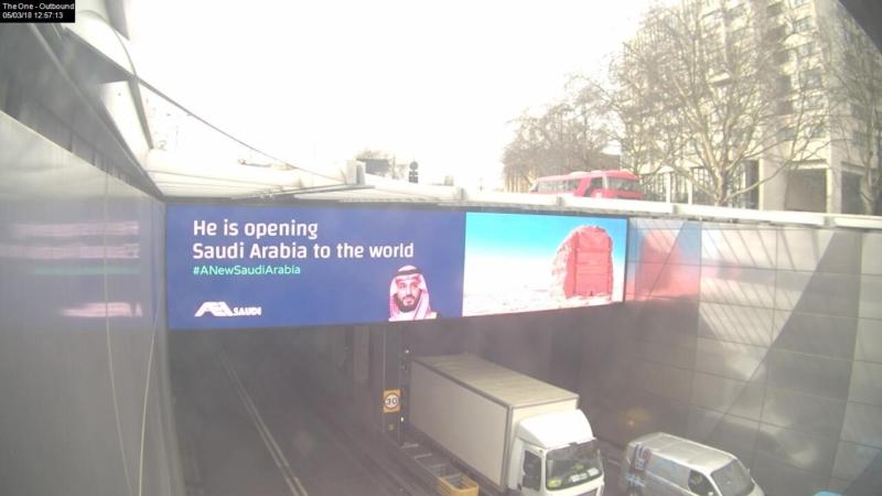 شاهد.. شوارع لندن تستبق زيارة محمد بن سلمان بلافتات ترحيب تشرح جوانب من رؤية 2030 - المواطن