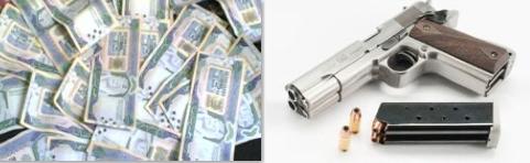 مسدس و 20 ألف ريال سعودي