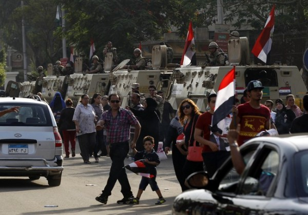 Soldiers secure a road during the presidential elections in Cairo