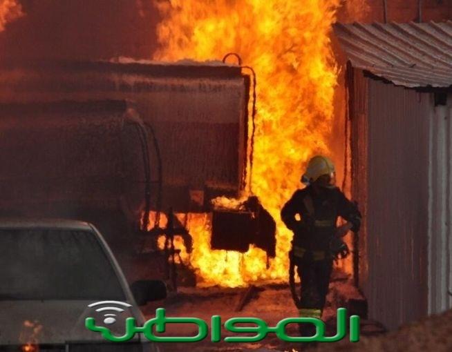 بالصور .. حريق محطة بنزين بحائل يلتهم صهريج مياه - المواطن