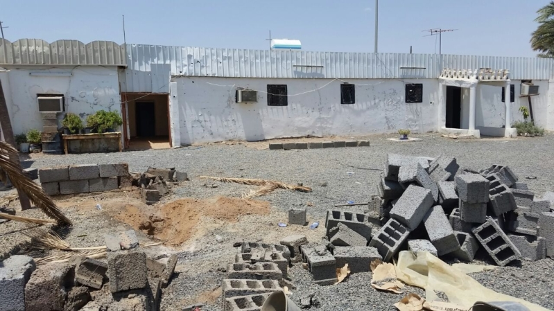 أضرار المقذوف الحوثي