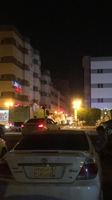 حريق سكن الأطباء بمستشفى العميس جازان