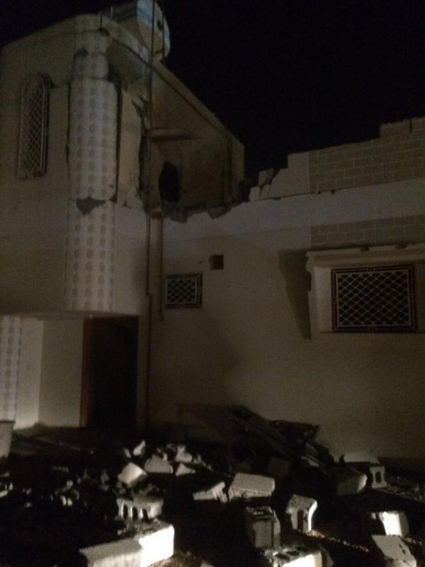 المنزل المتضرر من الخارج