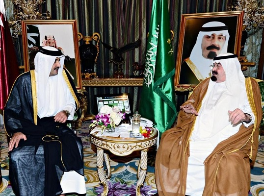 أمير قطر الشيخ تميم ال ثاني والملك عبدالله بن عبدالعزيز