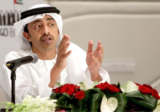 وزير خارجية الإمارات الشيخ عبدالله بن زايد